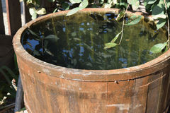 Деревянный бочонок заполненный с водой Стоковое Фото