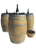 Деревянный бочонок при виноградины и бутылки вина изолированные над белизной Стоковые Фото