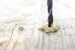 Деревянный буровой наконечник с опилк Стоковые Фото