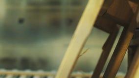 Деревянный будучи покрашенным паллет белым с airbrush в мастерской видеоматериал