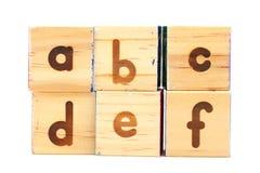 Деревянный блок игрушки для abcdef Стоковое Изображение