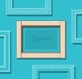 Деревянный вектор картинной рамки плоский Стильная бежевая рамка фото на голубой стене Комплект рамки картины шаблон Стоковая Фотография