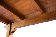 Деревянный взгляд крыши крылечку from inside Стоковое фото RF