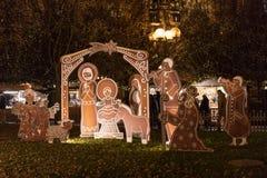 Деревянный Вифлеем сделанный для того чтобы выглядеть как от пряника на рождественских ярмарках Праги Стоковые Изображения RF