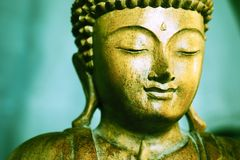 Деревянный высекаенный Будда смотрит на с зеленой предпосылкой стоковое изображение rf