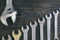 Деревянный гаечный ключ предпосылки Стоковые Фотографии RF