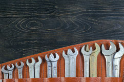 Деревянный гаечный ключ предпосылки Стоковое Изображение RF