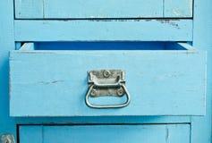 Деревянный голубой шкаф Стоковое Изображение