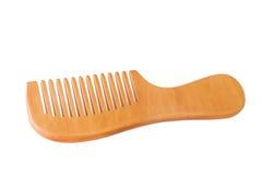 Деревянный гребень для волос изолированных на белой предпосылке, файле включает Стоковые Изображения