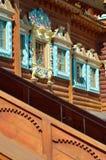 Деревянный дворец царя Aleksey Mikhailovich в реконструкции Kolomenskoe, Москвы, России Стоковая Фотография RF