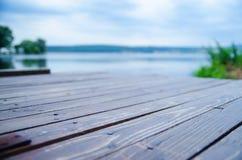 Деревянный док на озере Стоковое Фото