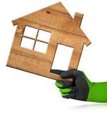 Деревянный дом - концепция строительной промышленности Стоковое Изображение RF