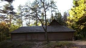 Деревянный закрытый двор в лесе осени акции видеоматериалы
