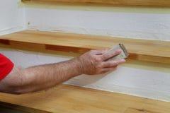 Деревянный зашкурить лестниц Стоковое Изображение