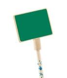Деревянный зеленый ярлык на белой предпосылке Стоковая Фотография