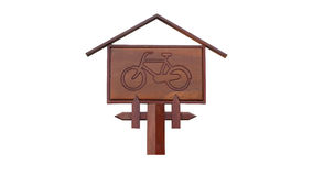 Деревянный знак велосипеда Стоковые Изображения