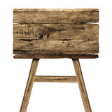 Деревянный знак на белизне Деревянный старый знак планок Стоковое Изображение RF