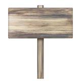 Деревянный знак на белизне Деревянный старый знак планок Стоковая Фотография