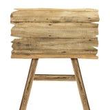 Деревянный знак на белизне Деревянный старый знак планок Стоковое фото RF