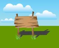 Деревянный знак на траве, вектор Стоковое Фото