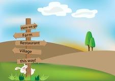 Деревянный знак на холме Стоковые Фото