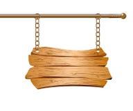 Деревянный знак суспендировал на цепях Стоковые Фотографии RF