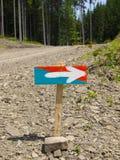 Деревянный знак с покрашенной стрелкой Стоковое Изображение RF