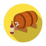 Деревянный значок бочонка вина в плоском стиле изолированный на белой предпосылке Иллюстрация вектора запаса символа страны Франц Стоковое Изображение