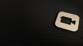 деревянный значок 3d значка приложения камеры представить иллюстрация вектора
