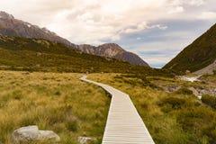 Деревянный идя путь водя к кашевару Mt, Новой Зеландии стоковые изображения rf