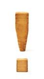 Деревянный изолированный символ восклицательного знака Стоковые Изображения