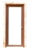 Деревянный изолят двери на белой предпосылке Стоковое Изображение