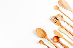 Деревянный изолят утварей кухни Стоковые Фотографии RF