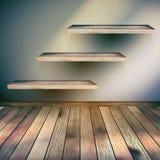 Деревянный интерьер с предпосылкой полки. EPS 10 Стоковая Фотография RF