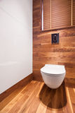 Деревянный и стильный туалет стоковое фото rf