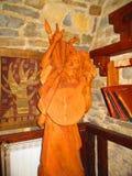 Деревянный казак с Пандорой, Kamenets Podolskiy, Украиной Стоковая Фотография