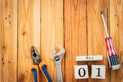 Деревянный календарь блока на День труда, 1-ое мая Стоковые Фото