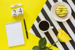 Деревянный календарь 24-ое апреля кубов Чашка кофе, желтый донут и роза на черно-белой салфетке, пустом открытом блокноте для тек стоковые изображения rf