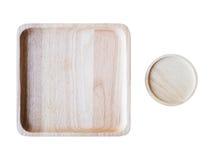 Деревянный квадрат и круглые плиты изолированные на белой предпосылке Стоковое Изображение