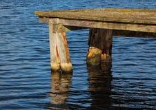 Деревянный конец пристани с темным отражением воды Стоковые Фотографии RF