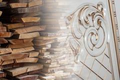 Деревянный конструкционный материал тимберса и украшенная высекаенная мебель для предпосылки и текстуры творческое изображение стоковые фото