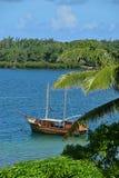 Деревянный корабль состыковал с ` Eau Douce Trou d, Маврикия Стоковое фото RF