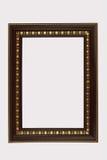 Деревянный коричневый цвет рамки уравновесил антиквариат золот изолированный на белом backgr Стоковые Изображения