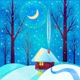 Деревянный коттедж в снеге Стоковые Фото