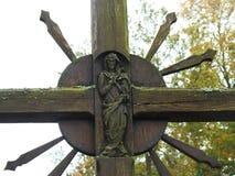 Деревянный крест, Литва Стоковая Фотография