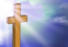 Деревянный крест против неба Стоковое Фото