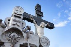 Деревянный крест с Христосом стоковая фотография rf