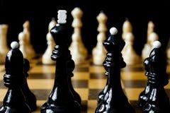 Деревянный крупный план шахматных фигур Стоковая Фотография