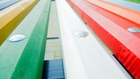 Деревянный крупный план места скамейки в парке Стоковое Изображение RF