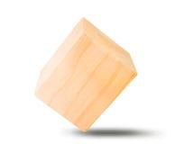 Деревянный кубический блок изолированный на белизне Стоковая Фотография
